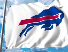 Waving flag with Buffalo Bills professional team logo. Editorial 3D